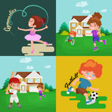 Kids sport, isolated boy and girl playing active games vector Royalty Free Stock Images