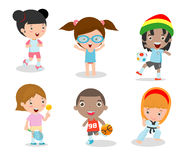 Kids and sport, Kids playing various sports on white background , Cartoon kids sports,running, football, tennis, Taekwondo, karate Stock Image
