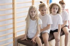 Kids before gymnastics classes stock images