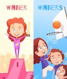 Kids Sport Vertical Banners Stock Photos