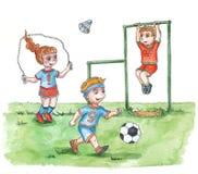 Kids sportmens. Children play sports in the garden Stock Photography