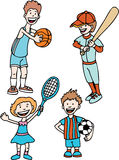 Kids Sports. Collection of four children wearing sports uniforms and equipment Royalty Free Stock Image