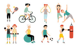 Kids sports activity collection. Exercising children set. Weightlifting, boxing, jumping rope, tennis, football, yoga. Cycling training Colorful vector Royalty Free Stock Photography