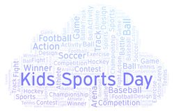 Kids Sports Day word cloud. Made with text only stock photography