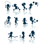 Kids sports silhouettes Stock Photos
