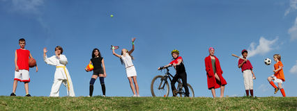 Kids  sports summer camp. Web banner  of Group of  diverse children  or kids at summer sports camp , activity and sport Stock Photo