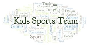 Kids Sports Team word cloud. Made with text only Vector Illustration