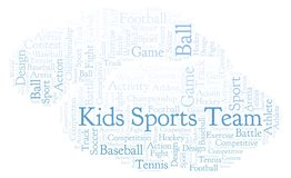 Kids Sports Team word cloud. Made with text only Stock Illustration