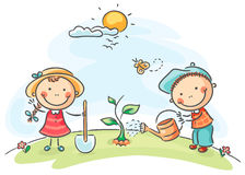 Kids spring activities Stock Photography
