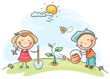 Kids spring activities. Happy cartoon kids spring activities