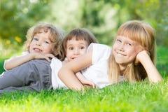 Kids in spring park stock image