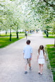 Kids in a spring park Royalty Free Stock Images