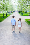 Kids in a spring park Royalty Free Stock Photo