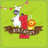 Kids 1st birthday Invitation card. Kids 1st Birthday celebration Invitation card decorated by party flag and cute cartoon of animals vector illustration