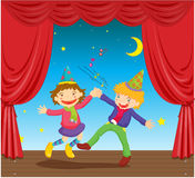Kids on stage. Illustration of kids dancing on stage Royalty Free Stock Image