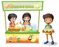 Kids at the stall selling refreshing drinks. Illustration of the kids at the stall selling refreshing drinks on a white background Stock Photography