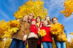 Kids stand in maple park. Group of seven kids standing together in the park with autumn yellow maple tree on background Royalty Free Stock Photography
