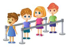 Free Kids Standing A Queue Nicely Royalty Free Stock Images - 192199219