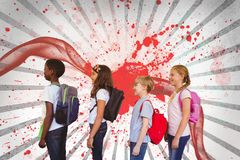 Kids standing against white and red splattered background. Digital composite of Kids standing against white and red splattered background Stock Photography