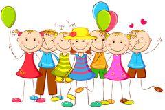 Kids standing with Balloon. Illustration of happy kids standing with balloon Stock Photo