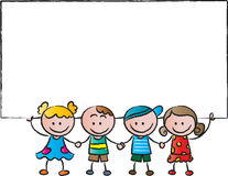 Kids standing with a blank card Royalty Free Stock Photo