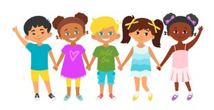 Kids standing in a row. Vector cartoon style illustration of kids standing in a row and holding hands of each other. Background with multicultural children stock illustration