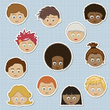 Kids stickers. Collection of children stickers - boys and girls faces Stock Image
