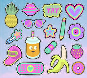 Kids stickers set. Cartoon kids stickers or patches set with pineapple,sunglasses,banana and other cute design elements in 80s 90s style.. Vector Royalty Free Stock Photo