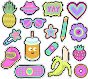 Kids stickers set. Cartoon kids stickers or patches set with pineapple,sunglasses,banana and other cute design elements in 80s 90s style. on white background Royalty Free Stock Photo
