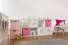 Kids storage furniture Stock Image