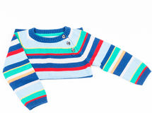 Kids striped sweater isolated on white folded Royalty Free Stock Image