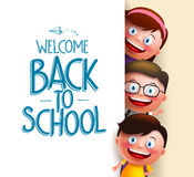 Kids Student Vector Characters Holding White Board With Blank Space Royalty Free Stock Photography