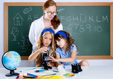 Kids students with nerd teacher woman at school. Kids students with nerd teacher women at science classroom Stock Photography