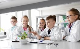 Kids or students with plant at biology class. Education, science and school concept - kids or students with plant at biology class stock photography