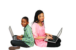 Kids study on computer Stock Photography