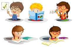 Kids studying Stock Images
