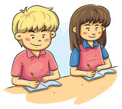 Kids Studying. Cartoon illustration of kids studying at school Stock Images