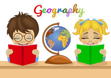 Kids studying geography together reading books with explorer globe Stock Images