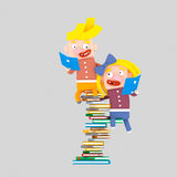 Kids studying on heap of books.3D. 