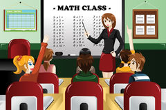 Kids studying math in the classroom. A vector illustration of kids studying math in classroom with teacher Royalty Free Stock Photo