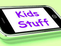 Kids Stuff On Phone Means Online Activities Stock Photo