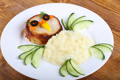 Kids style cutlet with mushed potato Stock Photo