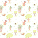 Kids style drawing cute doodle trees vector seamless pattern. Stock Image