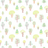 Kids style drawing doodle trees vector seamless pattern. Coniferous and deciduous Royalty Free Stock Image