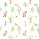 Kids style drawing doodle trees vector seamless pattern. Pastel colors. Royalty Free Stock Image