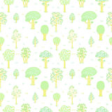 Kids style drawing doodle trees vector seamless pattern Royalty Free Stock Photos