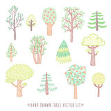 Kids style drawing doodle trees vector set Royalty Free Stock Photo