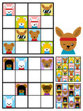 Kids sudoku puzzle with cartoon animal heads Royalty Free Stock Photos