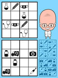 Kids sudoku puzzle using medical icons Royalty Free Stock Image
