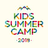 Kids summer camp 2018 banner for holiday party, kids camping, fest royalty free illustration
